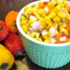Easy Corn Salsa Recipe - Canned sweet corn is mixed with an orange bell pepper, jalapeno pepper, and red onion in this quick salsa recipe that's best if chilled overnight, but also a great quick resolution when you need salsa now!