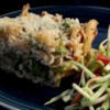 Vegetable Pasta Casserole Recipe - Penne pasta is baked with broccoli, mushrooms and green pepper, or the veggies of your choice, in a rich sauce of Parmesan cheese and milk.