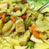Sarah's Tofu Noodle Soup Recipe - Tofu and vegetable broth replace the chicken in this hearty, vegetarian version of chicken noodle soup.