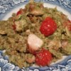Salmon and Pesto with Rice Recipe - Pesto coated salmon is steamed over a bed of flavorful rice!