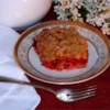 Rhubarb Cherry Crisp Recipe - A combination of sweet, tart tastes combined in this super easy dessert.  Good warm with ice cream on top.
