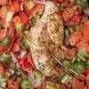 Baked Chicken Breasts and Vegetables Recipe - Chicken breasts are baked on a bed of fresh carrots, bell peppers, and celery in this light, but satisfying, meal.