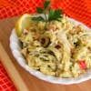 Artichoke Salad I Recipe - A dash of pepper sauce and Worcestershire make this artichoke rice salad zippy, and a wonderful salad to serve at a barbecue with grilled lamb, or with thick slices of tomato as a satisfying luncheon entree.