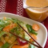 Famous Japanese Restaurant-Style Salad Dressing Recipe and Video - This dressing is made in the blender and has lots of great taste sensations  - garlic, ginger, minced celery, ketchup, soy sauce, lemon juice, vinegar and oil.
