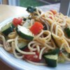 Spaghetti Salad I Recipe - Fresh cucumbers, tomatoes, and red onions are tossed with spaghetti and an Italian-style dressing that's dressed up with freshly grated Parmesan and spices.