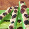 Ants on a Log Recipe - This is a fun snack that kids can make. It consists of artfully arranged celery, peanut butter, and raisins.
