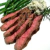 Grilled Flat Iron Steak with Blue Cheese-Chive Butter Recipe - I made this up as a Valentine's Day dinner.  The butter is what makes this dish.