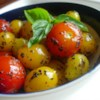 Byrdhouse Blistered Cherry Tomatoes Recipe - This is an easy, tasty, pretty way to whip up a side dish, or a leading man for a salad, in about 1 minute.