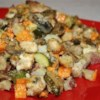 All-in-One Casserole Recipe - Bites of chicken, zucchini, sweet potato, and red potato are baked into one hearty casserole.