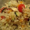 Quinoa with Chickpeas and Tomatoes Recipe - This delicious recipe was presented to me by a vegan friend.  The lime juice gives the quinoa a fresh flavor that can't be beat!