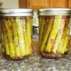 Pickled Asparagus Recipe and Video - Use the freshest asparagus for best color. These make great appetizers or garnishes. They look so pretty all 'canned up'!