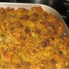 Cornbread Stuffing With Sausage Recipe - The name says it all! Ground sausage is cooked with celery and onions, then baked with cornbread, bread crumbs and chicken broth.