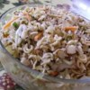 Lap Salad Recipe - An overnight salad using ramen noodles, cabbage, chicken, almonds, and green onions. This is GREAT -- one of my husband's favorites and it serves a ton of people. Try substituting cashews for almonds and a dash of sesame oil for sesame seeds.