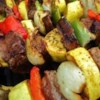 Kabobs Recipe - Grilled steak and chicken that doesn't dry out on the grill, but stays moist and flavorful. These kabobs are simple to make, and delicious to eat. Skewered meat with peppers, onions, and mushrooms in a honey teriyaki sauce.