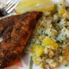Caribbean Chicken with Pineapple-Cilantro Rice Recipe - Spicy Caribbean-style chicken breasts are baked, then served with pineapple rice for a different chicken meal that's ready in less than an hour.