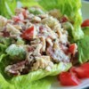 Chicken Salad with Bacon, Lettuce, and Tomato Recipe and Video - This chicken salad has a creamy dressing and is best served over crisp lettuce leaves.