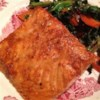 Asian Salmon Recipe - Wild salmon is marinated and baked in an Asian-inspired soy and sesame sauce, served with hot cooked rice.