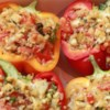 Vegetarian Stuffed Red Bell Peppers Recipe - These quinoa and apple stuffed peppers are fresh tasting and healthy. They make a great side dish or a meal on their own.