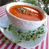 Roasted Red Bell Pepper Soup Recipe - Roasted red peppers are pureed with cannellini beans, sauteed onions, and garlic in this chicken broth based soup.