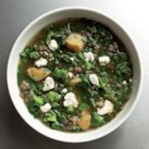 Healthy Recipes for Green Soup Slideshow - A steaming bowl of green soup, packed with the season's freshest vegetables, is a healthy way to start your meal. Green soup is loaded with hearty, fiber-rich vegetables, including dark greens like chard, spinach and kale. Try our Spinach & Goat Cheese Bisque, a creamy, healthy green soup, for dinner tonight.