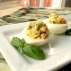 Garlic, Basil, and Bacon Deviled Eggs