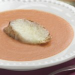 Creamy Tomato Bisque with Mozzarella Crostini
