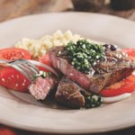 Grilled Rib-Eye with Tomato Salad & Chimichurri Sauce
