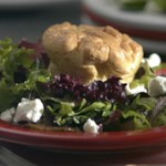 Twice-Baked Goat Cheese Souffles on a Bed of Mixed Greens