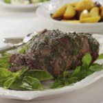 Mint-Pesto Rubbed Leg of Lamb