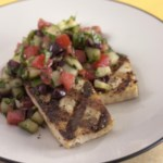 Grilled Tofu with a Mediterranean Chopped Salad