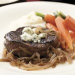 Seared Steaks with Caramelized Onions & Gorgonzola
