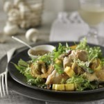 Mushroom, Squash & Chicken Salad with Sesame Dressing