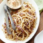 Spicy Jicama & Red Onion Shoestrings with Herbed Chipotle Aioli
