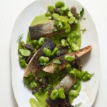 Seared Salmon, Morels & Fava Beans with Green Goddess Sauce