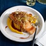 Slow-Roasted Salmon with Soy-Caramel Sauce, Carrot Puree & Crispy Leeks
