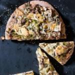 Kohlrabi, Leek & Gruyère Pizza