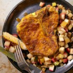 Curried Pork Chops with Roasted Apples & Leeks
