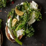 Roasted Broccolini & Goat Cheese Tartines