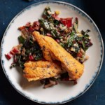 Seared Arctic Char with Bacon-Leek Chard