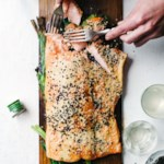 Plank-Grilled Miso Salmon