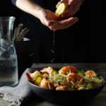 Lemon-Garlic Shrimp over Orzo with Zucchini