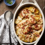 Loaded Scalloped Potatoes with Bacon, Cheddar & Chives