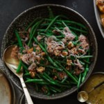 Glazed Haricots Verts with Pickled Shallot-Walnut Relish