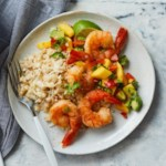 Sautéed Shrimp with Mango Salsa & Coconut Cauliflower Rice