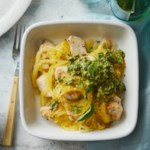 Spaghetti Squash & Chicken with Avocado Pesto
