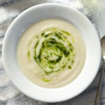 Roasted Vegan Cauliflower Soup with Parsley-Chive Swirl