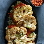 Cauliflower Steaks with Parmesan Cauliflower Rice & Romesco