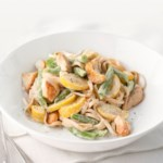 Chicken Fettuccine Alfredo with Summer Vegetables