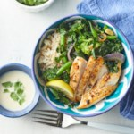 Green Veggie Bowl with Chicken & Lemon-Tahini Dressing