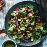 Greens & Roots Salad with Citrus-Walnut Vinaigrette